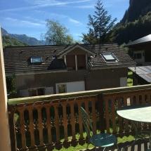 Breakfast terrace in morning sunshine