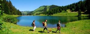 Hiking next to lake