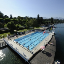 Swimming next to Lac Leman