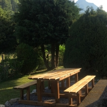 chalet alys garden table and tree