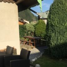 chalet alys garden table towards village